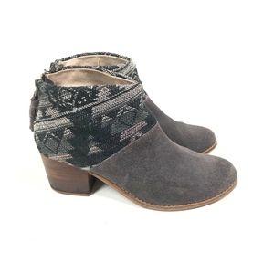 Toms Leila Booties Suede Yarn Leather Wool Felt